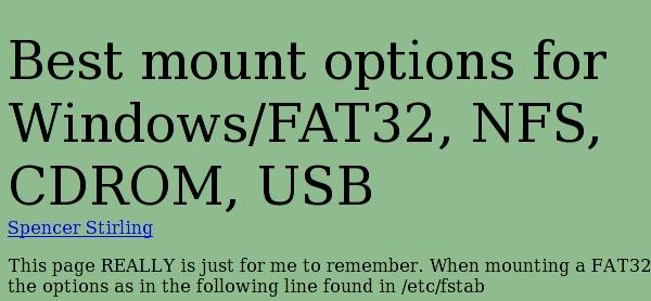 Best mount options for Windows/FAT32, NFS, CDROM, USB